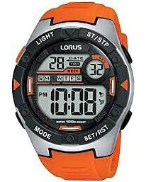 Lorus Mens Digital Alarm Orange Rubber Strap Watch R2303NX9