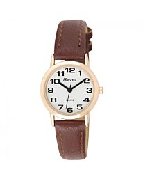 Ravel Ladies Polished Round Case Brown Strap / RG CASE Watch R0105.42.2A