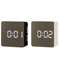 Ravel Mirror Finish Dimmable Led USB Charger Battery Alarm Clock RCLED001