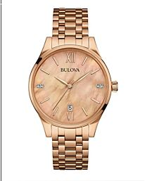 Bulova Women's Quartz Watch with Mother Of Pearl Dial Analogue Display and Rose Gold Bracelet 97S113