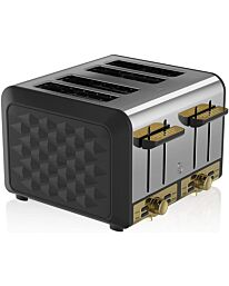 Swan Gatsby 4 Slice Toaster ST14084BLKN- Black And Gold