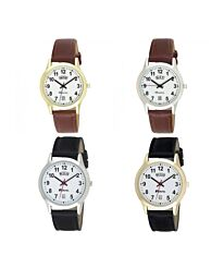Ravel Gents Gilt Day/Date Faux Leather Strap Watch R0706G