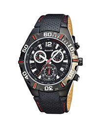 Accurist Men's Chronograph Black Dial Rubber Strap Watch MS834BR
