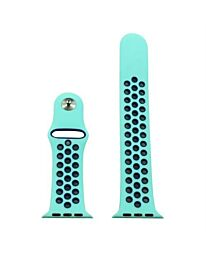 AP103 - Turquoise/Black sports Silicone Strap To Fit Apple Smart Watch Available Sizes 38mm - 42mm