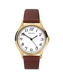 Sekonda Men's Round Dial Brown Leather Strap Watch 1684