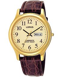Lorus Gents Brown strap watch day/dated lumibrite RXF48AX9