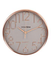 W7362 HOMETIME ROUND PLASTIC WALL CLOCK ROSE GOLD RAISED NUMBERS 30CM