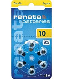 Renata No. 10 (PR70) Hearing Aid Batteries 6 pack