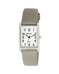 Ravel Unisex Fashion Rectangle Shape Dial Grey Leather Strap Watch R0120.13.1A