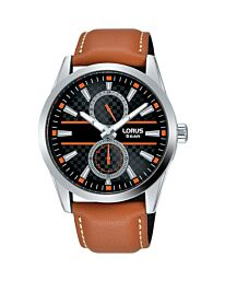 Lorus Mens Multidial Watch Tan Leather Strap R3A61AX9