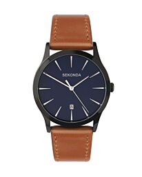 Sekonda Mens Analogue Quartz Watch with Blue Dial and Brown Leather Strap 1514