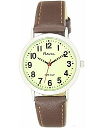 Ravel Glow in The Dark Luminous Dial Watch - Brown
