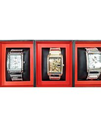 PI-7277 NY LONDON GENTS BLING WATCH ASSORTED COLOURS