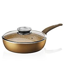 Tower Saute Pan, Cerastone, Forged Aluminium Non-Stick Ceramic Graphite, 28 cm Gold