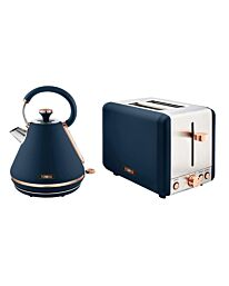 Tower Cavaletto Midnight Blue/Rose Gold Kettle & 2 Slice Toaster Set