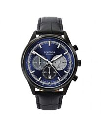 Sekonda Gents Chronograph Blue Dial Black Leather Watch 1593