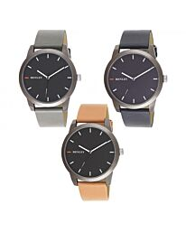 Henley Men's Triple Colour Pointer Faux Leather Strap Watch H02187