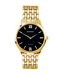 Sekonda Men's Fashion Black Dial Gold Bracelet Watch 1611