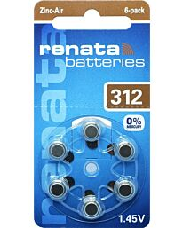 Renata No. 312 (PR41) Hearing Aid Batteries 6 pack