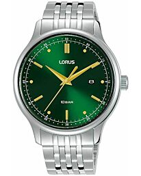 Lorus Mens Watch With Green Sunray Dial and Stainless Steel Strap RH907NX9