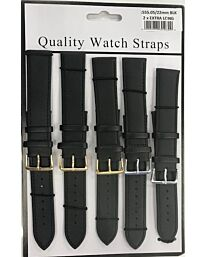 1555.05 2X EXTRA LONG BLACK LEATHER WATCH STRAPS PK5 AVAILABLE SIZES FROM 18MM - 22MM