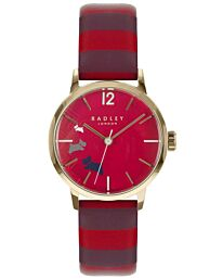 Radley Women's Red dial & Striped Leather Strap Watch RY2676