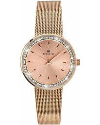Accurist Women's Rose Gold Plated Stone Set Milanese Analogue Wristwatch 8164