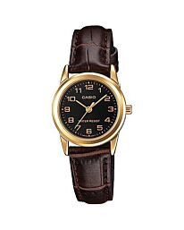 Casio Women's Fashion Designer Black Dial Gold Case Brown Leather Strap Watch LTP-V001GL-1BUDF