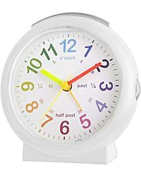Acctim Lulu 2 Kids Time Teach Non-Ticking Alarm Clock in White 15212