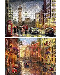 St Helens Home and Garden Twin Pack of 500 Piece Jigsaw Puzzles - London to Venice