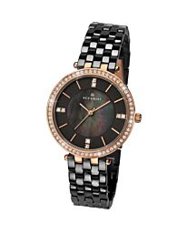 Accurist Women's Fashion Ceramic Black Bracelet Wristwatch 8163