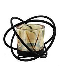 Hestia Tealight Candle Holder Smoked Glass Knot Style HE671
