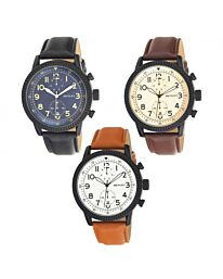 Henley Men's Textured Sports Faux Leather Strap Watch H02182
