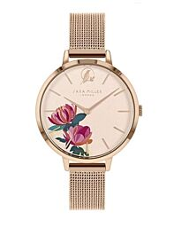 Sara Miller The Peony Collection Rose Gold Plated Mesh Strap Watch SA4034