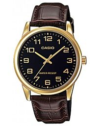 Casio Men's Analog Brown Leather Strap Watch MTP-V001GL-1BUDF