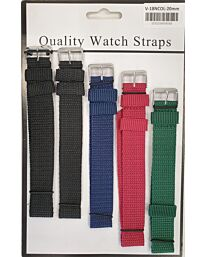 Nylon fabric watch strap 5pk V18NC Available Sizes 18mm - 22mm