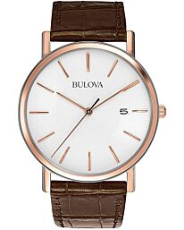 Bulova Bulova Men's Brown Leather Strap and White Dial Watch 98H51
