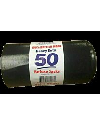 50 HEAVY DUTY BLACK REFUSE SACKS STRONG THICK RUBBISH BAGS BIN LINERS