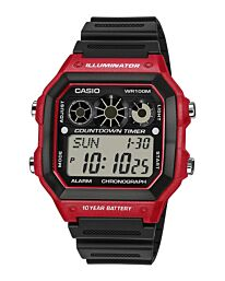 Casio Men's Digital illuminator Rubber Strap Watch AE-1300WH-4AVDF