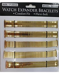 Watch Straps 17-23mm Expander 6 pack EX1723 Gold Colour