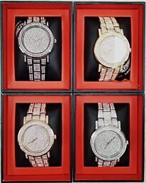 PI-7625 NY LONDON GENTS BLING WATCH ASSORTED COLOURS