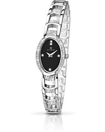 Accurist Women's Fashion Black Oval Dial Bracelet Wristwatch 8035