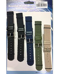 Lined back Nylon strap pk5 assorted colours Available Sizes from 18mm To 22mm 4005