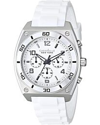 Caravelle New York Mens Clark Chronograph White Rubber Strap Watch 43A126