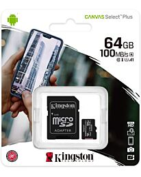 Kingston Canvas Select Plus MicroSD (SD Adapter Included)- 64GB