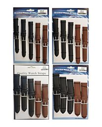1005 Padded Leather Watch Straps Pk5 Black & Brown mixed 18mm-30mm Available Sizes