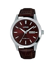 Lorus Men's Fashion Brown Dial Leather Strap Watch RXN31DX9