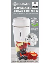 Daewoo 50W White Portable Rechargable Blender with 300ml Capacity and Drinking Lid SDA1944