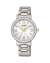 Citizen  Women's Diamond Accented TT Mother-of-Pearl Dial Watch EL3044-54D