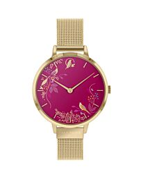 SARA MILLER CHELSEA LADIES PALE GOLD STAINLESS STEEL MESH STRAP MAGENTA SMALL DIAL ENCHANTED GARDEN WATCH SA4010